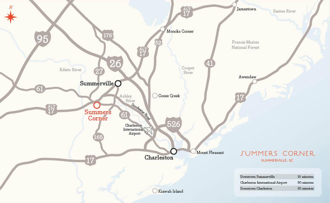 Location - Region & Amenities Map| Summers Corner on
