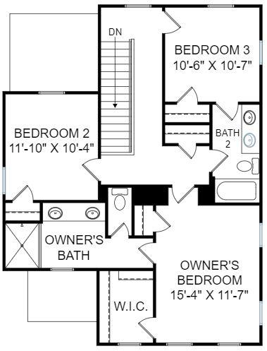 Azalea Plan a FrontDoor Communities Second Floor Plan in Summerville, SC