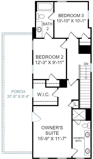 Jasmine Plan a Dan Ryan Builders Second Floor Plan near Charleston, SC