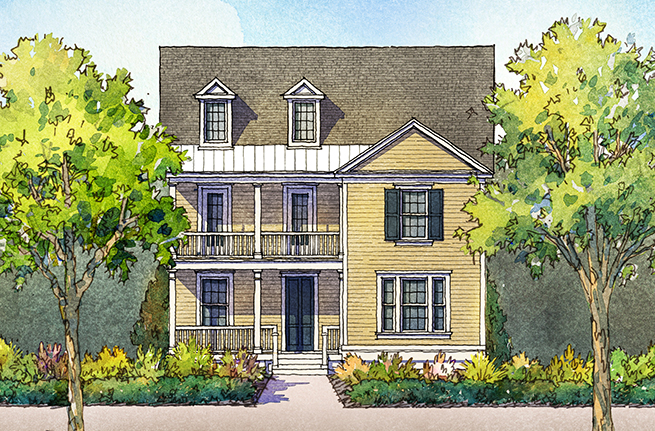 Tea Olive Plan a Sabal Homes House Drawing near Charleston, SC