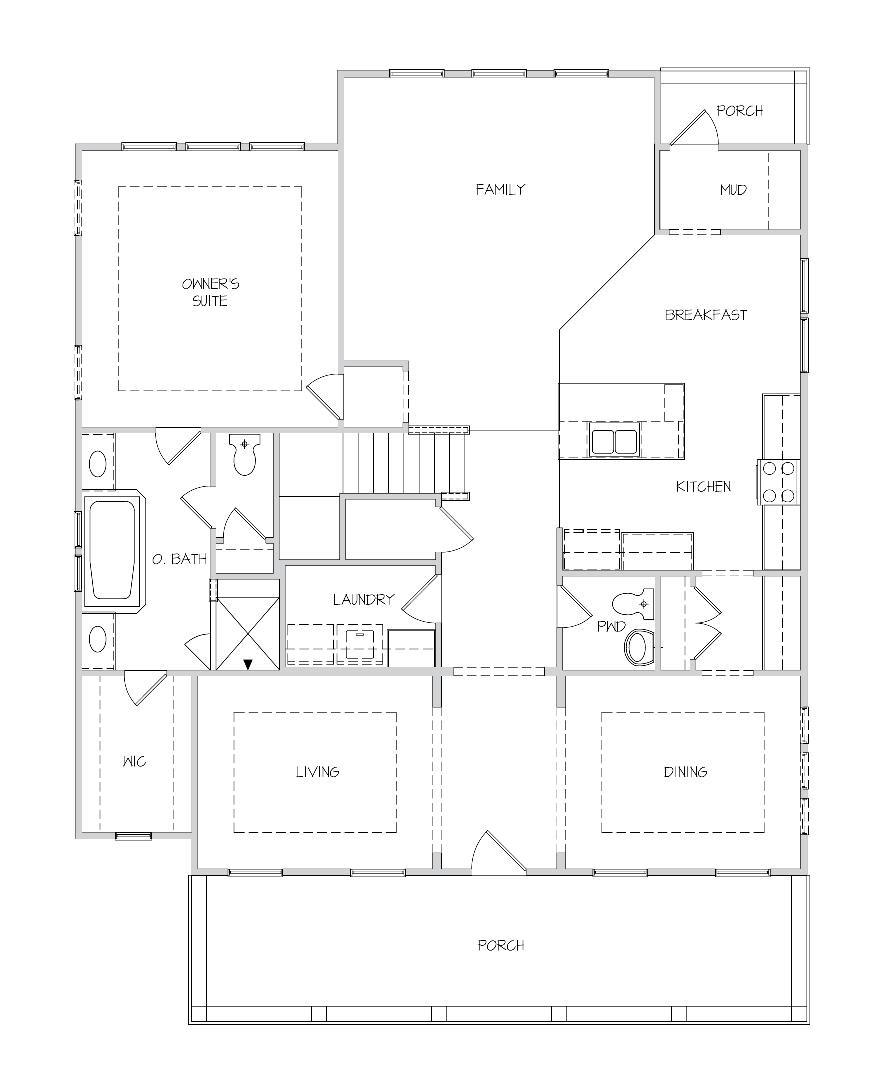 Pimlico II Plan a Dan Ryan Builders First Floor Plan in Summerville, South Carolina